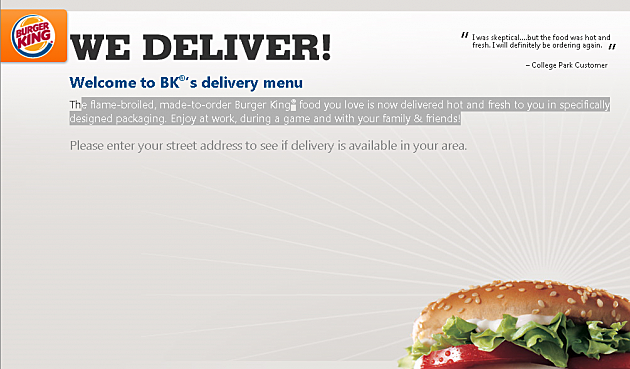 burger king to start home delivery