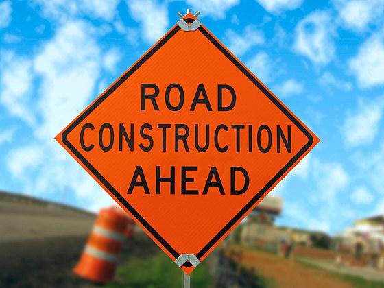 road construction ahead sign