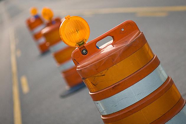 Row of Road Construction Barrels